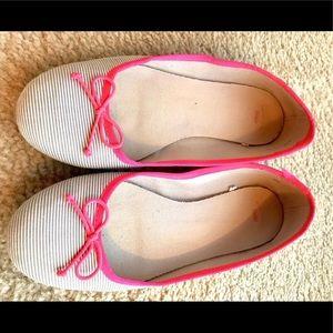 Gap Grey Striped & Neon Pink Ballet Flats sz 10